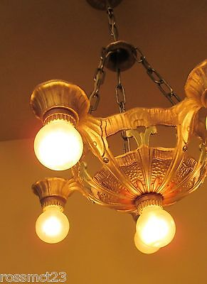 Vintage Lighting 1930s Deco chandelier by Lincoln