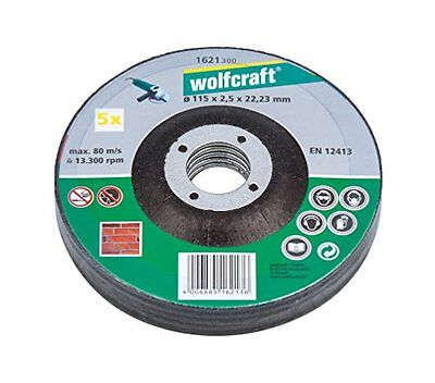 Wolfcraft 1621300 115 x 2.5 x 22.23mm Cutting Discs for Stone with Depressed