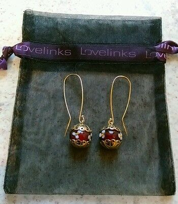 Genuine Lovelinks silver 925 gold plated earrings with Murano charm beads