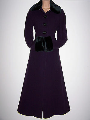 Laura Ashley Vintage Wool & Cashmere Russian/ Riding Style Full-Length Coat 10Uk