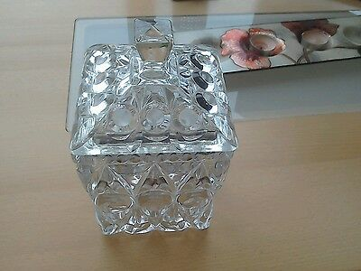Patterned cut glass jar with lid