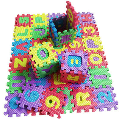 36PCS Baby Kids Alphanumeric Educational Puzzle Blocks Pad Infant Child Gift Toy