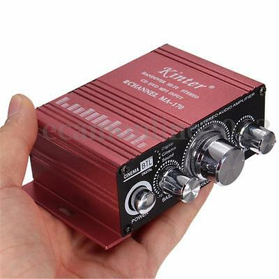 LED Mini Stereo Hi-Fi Amplifier Booster 2CH DVD MP3 Amp For Car Home Motorcycle