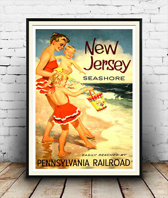 New Jersey Seashore :  Vintage Travel advertising  Poster reproduction.