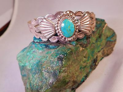 Fred Harvey Era Native American Navajo Ih Coin Silver +Turquoise Cuff , Arrows