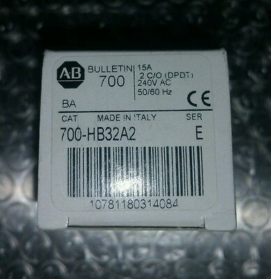 Allen Bradley Relay w/3 Option, Cat. 700-HB32A2 Ser. E, 2 C/O DPDT, 240V 50/60Hz
