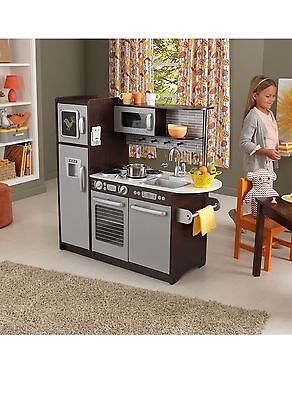 KidKraft Espresso Kitchen Uptown Wood Pretend Kitchen Children Toddler Kids New