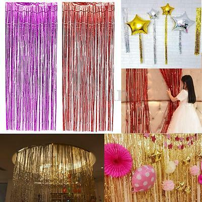 "5Color Christmas Metallic Fringe Curtain Party Foil Tinsel Room Decor 3""x8"" Door"