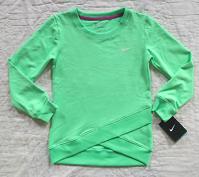 NIKE Girls Dri-Fit Crossover Long Sleeve Sweatshirt Green 36A296-EG1 Size 6  NWT