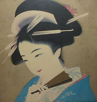 Asiatika Japan Geisha mit Fächer colorierte Grafik Japanerin Person der Künste