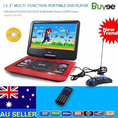 13.3'' Inch Portable DVD Player In Car 270° Swivel Screen USB SD Remote Control