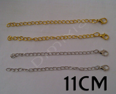 5 Long Gold Silver Curb Chain Bracelet Necklace Extender Extension Lobster Clasp