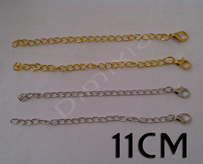 Gold Silver Plated Curb Chain Bracelet Necklace Extender Extension Lobster Clasp