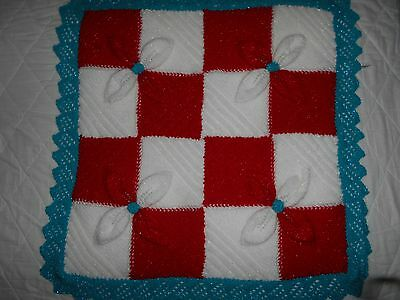 Baby's Christmas Hand Knitted Sparkly Pram Blanket