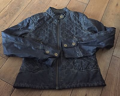 Girls Green Distressed Leather Look Biker Jacket NEXT Age 11-12