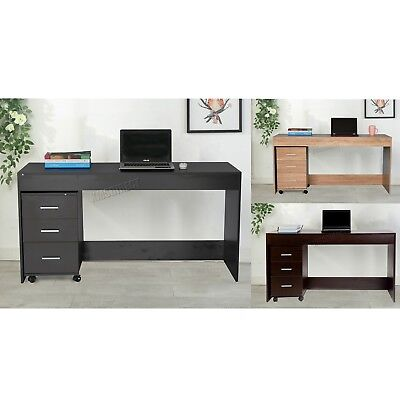 FoxHunter Computer Desk PC Table With 3 Drawers Home Office Furniture Study CD09