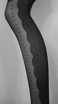 Ladies Black Pattern lace Tights Suspender Tights (One Size)