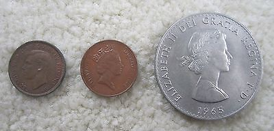 1943 1 Farthing, 1965 1 Crown, 1994 1 Penny GREAT BRITAIN COIN LOT! Churchill
