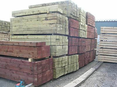 "New Pressure Treated Railway Sleepers 8ft x 10"" x 5"" (2.4m) - Chorley, Lancs"