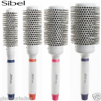 Sibel Silicone Gel Handle Round Radial Hair Brush With Nylon Bristles