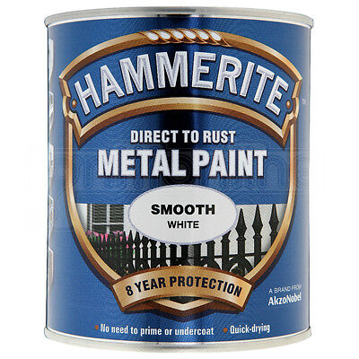 Hammerite Direct to Rust Metal Paint Quick Drying Smooth White Finish 750ml