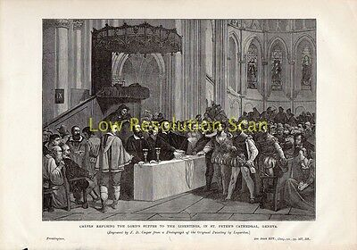 Calvin Refusing Lords Supper, St Peters Geneva - Antique Print Engraving, C1889
