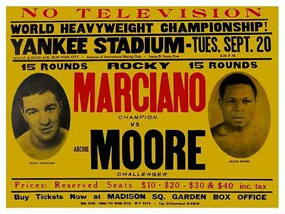 Rocky Marciano vs Archie Moore **LARGE POSTER** 1955 Heavyweight Boxing Champion