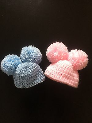 Hand Crochet Baby Bobble Hat Pom Pom  Winter 0-3 Months Wool Blue Pink Boy Girl