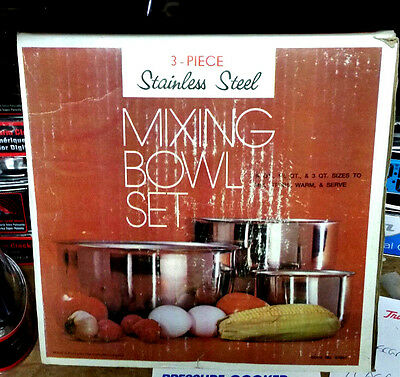 Vintage Vollrath stainless steel nesting mixing bowl set #47931 NIB NOS