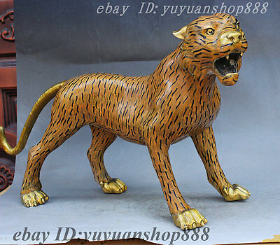 """21"""" Chinese FengShui Cloisonne Enamel Strong Guard Tiger Beast Success Statue"""
