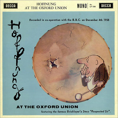 """HOFFNUNG AT THE OXFORD UNION 1960 Decca 10"""" LP LF1330 inc The Bricklayer's Story"""