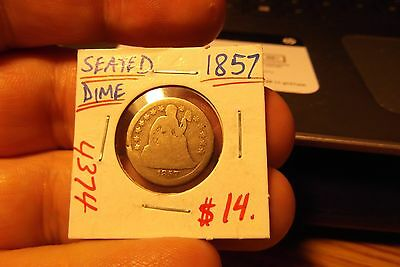 1857 Seated Liberty Dime .... 4374  ...... Free Shipping