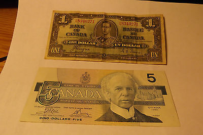 2 Canada Notes 1937 Dollar And 1986 $5 Note ..... Free Shipping