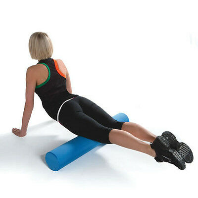 FOAM ROLLER - YOGA PILATES PHYSIO HIGH DENSITY 90cm x 15cm BLUE, BLACK OR RED