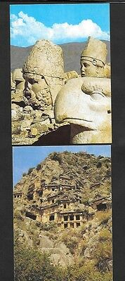 Turkey Postcards Heracles and Apollo on Nemrut and Myra Rock  2 Different Unused