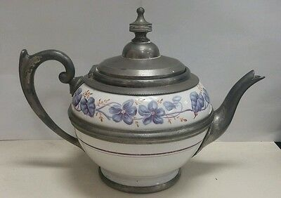 ANTIQUE Early Porcelain and Pewter Teapot Hand painted