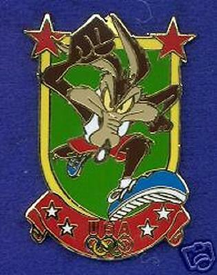 NEW ~ USA Olympic Team Shield Wile E. Coyote Track & Field WB Cartoon Lapel Pin