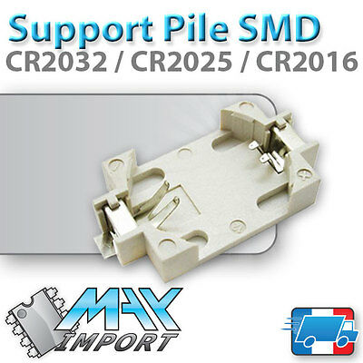 Support pile CR2032 / CR2025 / CR2016 SMD / CMS - Lots multiples, prix dégressif