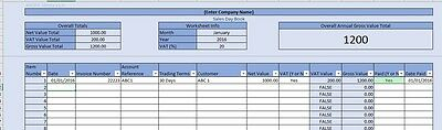 Business Sales Day Book Spreadsheet