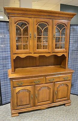 Vintage Kincaid Country Style 2 Piece Solid Maple China Cabinet