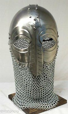 viking mask helmet with chain-mail and liner - larp / re-enactment / theatre