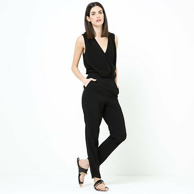 Womens Jumpsuit With Cross-Over V-Neckline And Belt