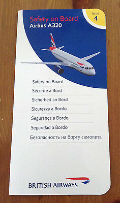 British Airways Airbus A320 Issue 4 Safety Card Used Condition