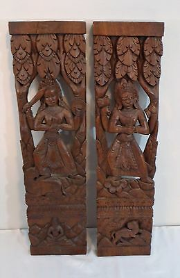 Antique Chinese Asian Carved Wood Architectural Panels