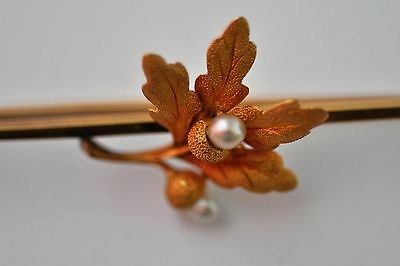 Antique Victorian 15ct Gold OAK LEAF seed pearls Brooch Pin weight 10g     Video