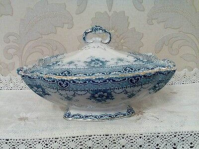 "Antique Flow Blue, Ford & Sons, ""LIDDED TUREEN"" Rare Trent Pattern."