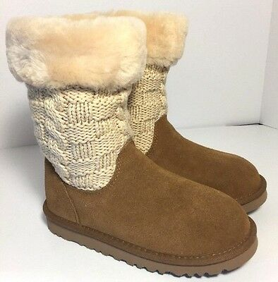 New Kids UGG Australia Tan & Cream Juniper Cardy Knit  Suede Boots SIZE 2 UGGS