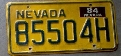 1984 Nevada Yellow License Plate