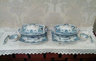 """Antique Flow Blue, Ford & Sons, """"x2 LIDDED SOUP TUREENS"""" Rare Trent Pattern."""
