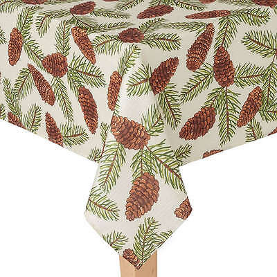 "NEW polyester ST NICHOLAS SQUARE round TABLECLOTH 70"" pinecone NAPKINS (4)"